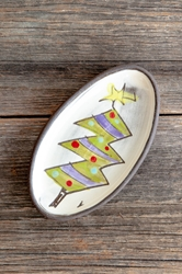 Christmas Tree Mini Oval Tray (blue or purple garland)